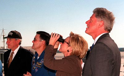 Clinton at STS-95 launch