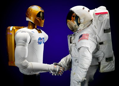 Robonaut and astronaut