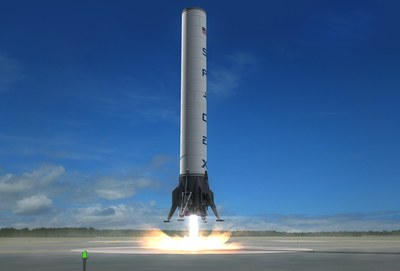 Falcon 9 first stage landing illustration