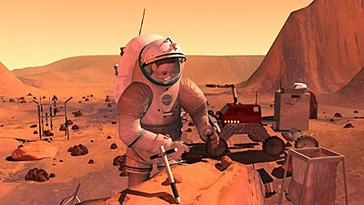 Human and robot on Mars