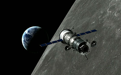 Soyuz flying around the Moon