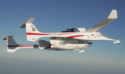 SpaceShipOne and White Knight in flight