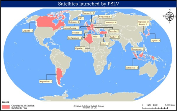 The Space Review India And The Satellite Launch Market - World satellite map with countries