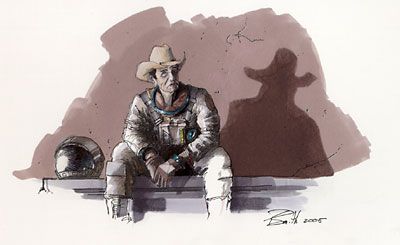 lunar cowboy illustration