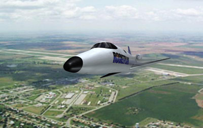 Rocketplane XP over spaceport