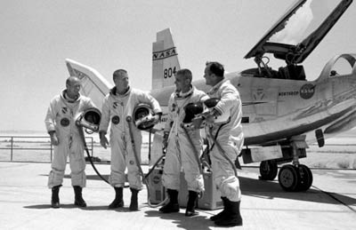 test pilots in pressure suits