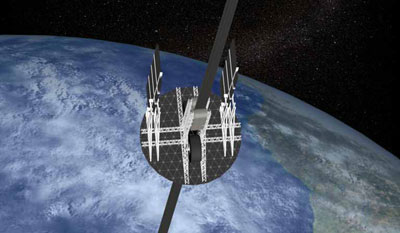Space elevator climber illustration