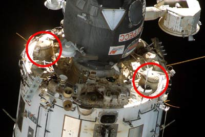 Zvezda module and thrusters