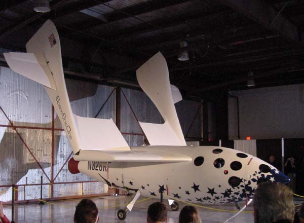 SpaceShipOne with raised wings