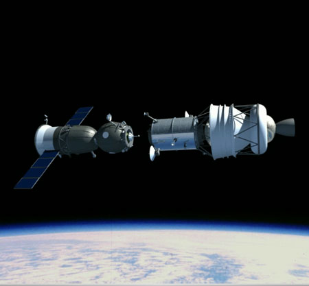 Soyuz docks with logistics module